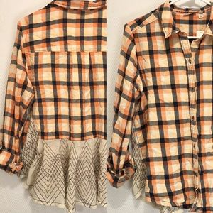 Anthropologie Plaid long  sleeve Top Size 12